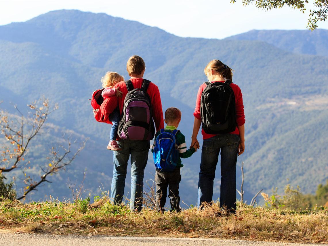 familia en la montaña
