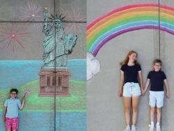 """Una adolescente crea dibujos con tiza para llevar a su hermano de """"aventuras por el mundo"""""""