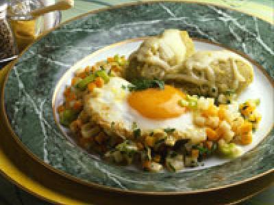 Huevos con verdura y patata
