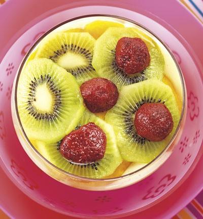 Fruta con crema de arroz
