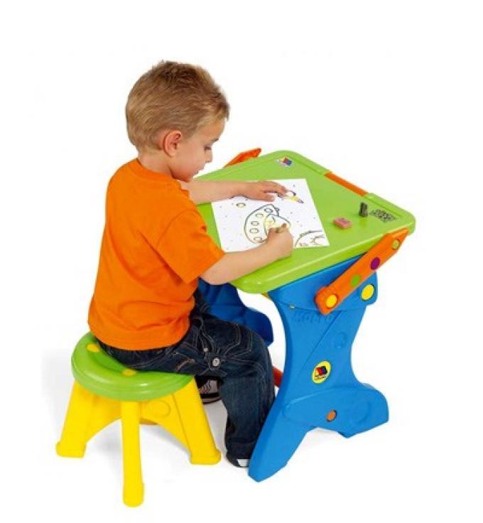 Juguetes educativos para ni os de 2 a os pupitre pizarra 2 en 1 con taburete de molt - Taburete ninos ...
