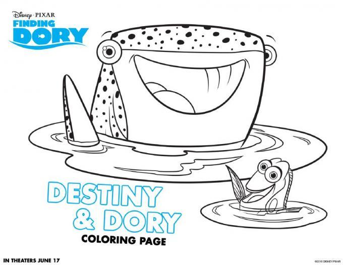 Dibujos para colorear de \'Buscando a Dory\' - Destiny & Dory
