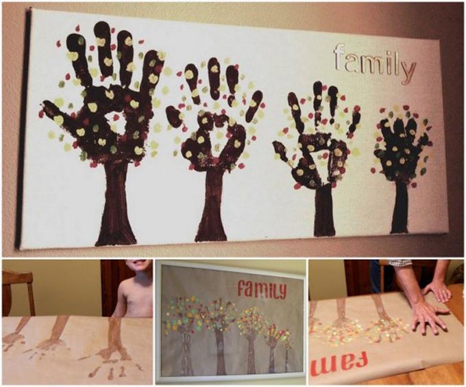 Todas la familia pinta con las manos