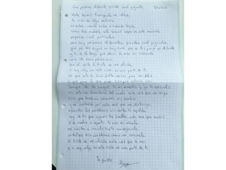 La emotiva carta que le escribe un niño a su abuelo