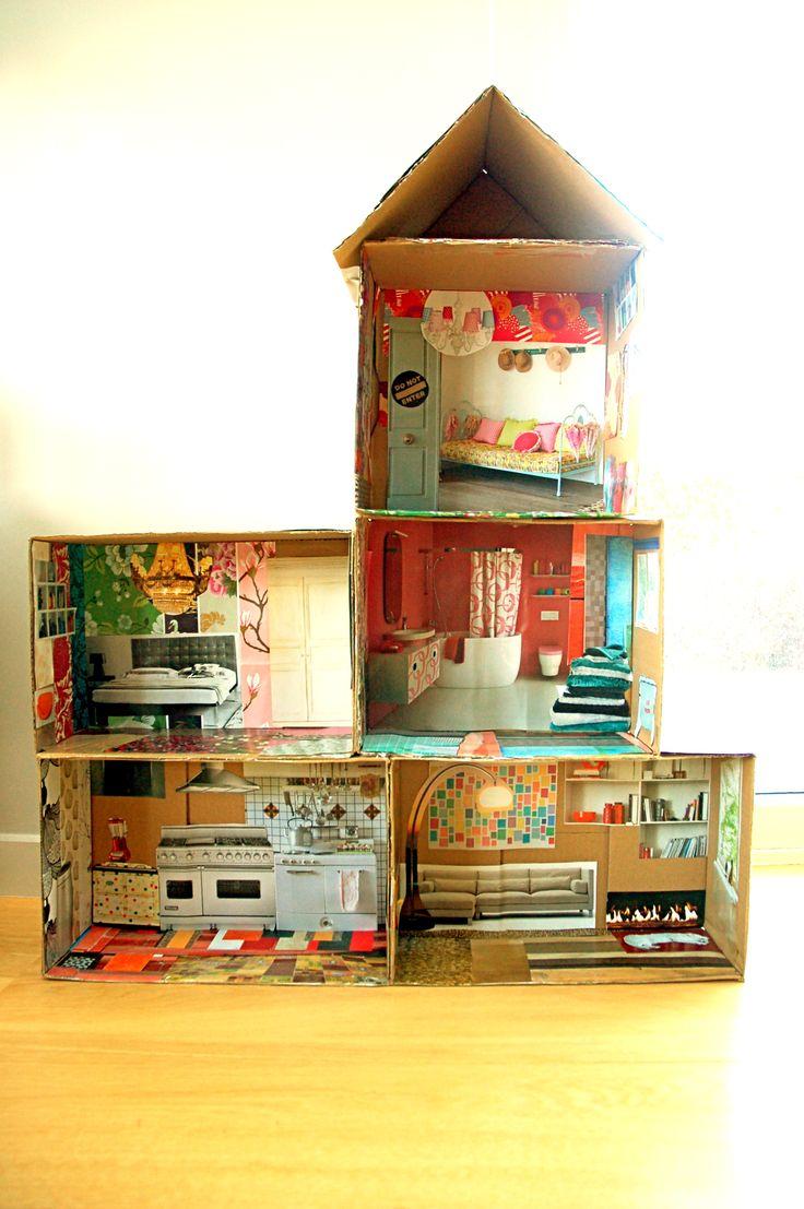 Casitas para ni os hechas con cajas de cart n casita de - Casita con tobogan para ninos ...