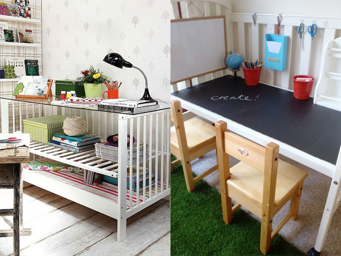 Fotos qu hacer con la cuna rec clala t misma escritorio for Como reciclar un escritorio de madera