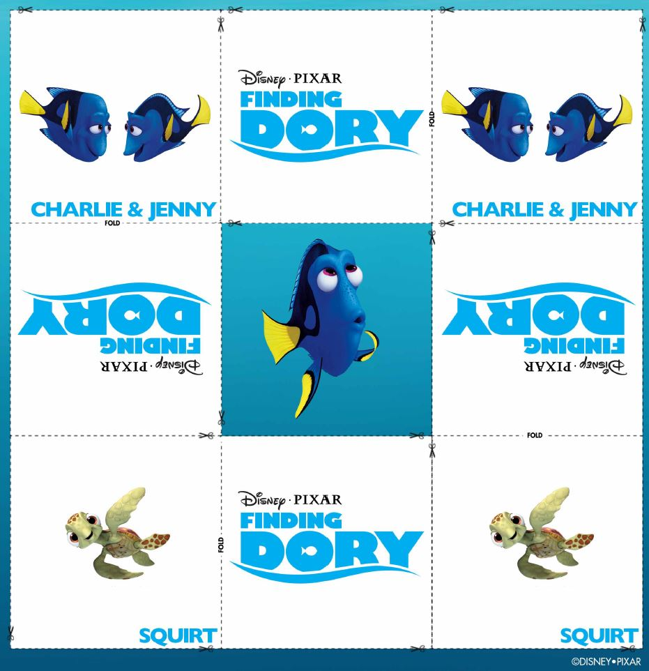 Buscando a Dory: Memory Cards Charlie & Jenny y Squirt